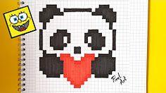 Pixel art : Comment dessiner un panda kawaii pas a pas - YouTube