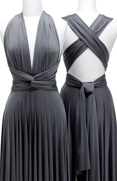 Pewter Column Deep V-Neck and Halter Cross Back Knee Length Dress With Twist Draped and Sash