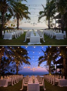 Fairy lights brighten up the space against a magnificent sunset backdrop for an…