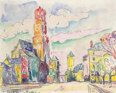 Paul Signac - Rodez, 1923 Chalk and watercolor on paper
