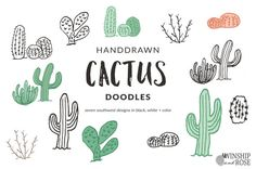 This cactus clip art set features personally hand drawn designs perfect for all seasons!  These perfectly imperfect doodle graphics are made for scrapbooking, greeting cards, party supplies or even adding an overlay to a photo. Each design comes with a black and white version to make