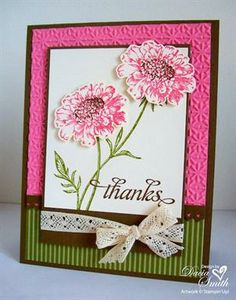 Stampin' Up Card: Just a very pretty card. I really like the look of 2 emboss folders on back ground.