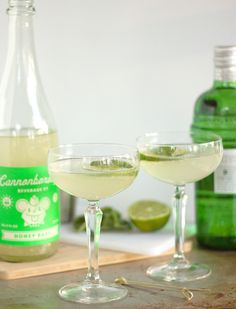 Two ingredient Basil Gimlet made with gin and Basil Honey Soda from Cannonborough Beverage Company.  Easy, craft cocktail recipe perfect for date night.