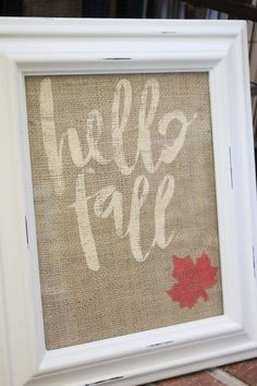Hello Fall Stencil on Burlap Art- Silhouette Cameo projects- stencil project- crafts- DIY- paint- fall decor- DIY art project- fall craft Burlap Art, Burlap Signs, Burlap Crafts, Painted Burlap, Wooden Signs, Burlap Projects, Diy Art Projects, Fall Projects, Rustic Fall Decor