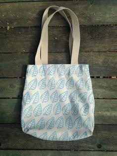 Hepphabit block printed canvas tote bag - leaves