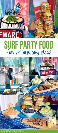 Need a great surf party menu or tropical party food ideas for a Luau or Hawaiian themed party? This boy surf birthday party has fun foods perfect for kids and adults alike. Get the full menu at PartiesWithACause.com #boypartyideas #kidsparty #summerpartyfood Summer Birthday, Birthday Parties, Tropical Party Foods, Haloween Party, Halloween, Adult Party Themes, Summer Parties, Luau, Party Planning