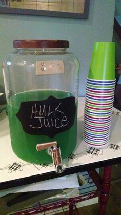 Hulk juice, avengers birthday party