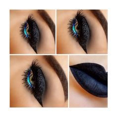 black glittery eyes and teal liner