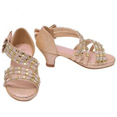 6a204fa90121 Girls Champagne Stone Adorned Bow Diagonal Strap Heeled Sandals 11-4 Kids  New Arrival Dress