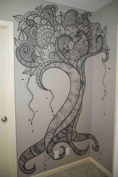 Beautiful henna tree design by Elsa Rhae Creations - https://www.facebook.com/elsarhae/