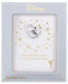 Disney Engraved Tinker Bell Pendant Necklace in Sterling Silver