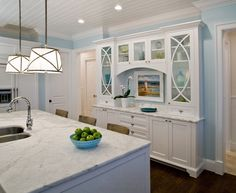 """Kitchen Cabinet Ideas. That Hutch measures approximately 8'-0"""" wide by 2'-0"""" deep and is semi-recessed into the wall. Lighting Pendants are the """"Grosvenor One-Light Downlight"""" by Circa Lighting. Cabinet Paint Color is """"Benjamin Moore PM-1 Super White"""".  Studio M Interior Design, Inc. #BenjaminMoore #PM1 #SuperWhite"""