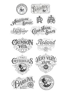 Collection of hand-drawn Logotypes from 2016 on Behance