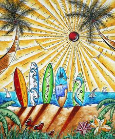 Summer Break By Madart artist Megan Duncanson ~ colorful surf boards in sand ~ radiant sun~ acrylic tropical art