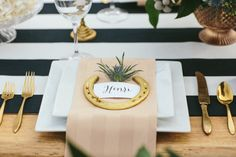 Pretty gold + striped place setting