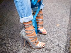 Strappy sandals with cuffed jeans | TheyAllHateUs