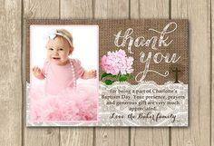 baptism thank you card, PRINTABLE, Baptism photo card, christening, thank you card with photo, boy or girl thank you, proof in 2 bus. days on Etsy, $15.00