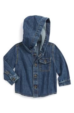 Free shipping and returns on Tucker + Tate Hooded Denim Shirt (Baby Boys) at Nordstrom.com. A dashing denim shirt featuring a casual-cool hood and chest patch pocket serves as a versatile, season-spanning staple.