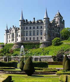 Dunrobin Castle, north of Golspie, Highland area, Scotland.... http://www.castlesandmanorhouses.com/photos.htm ... Dunrobin Castle is a stately homeand the family seat of the Earl of Sutherland and the Clan Sutherlan, overlooking the Dornoch Firth. Dunrobin's origins lie in the Middle Ages, but most of the present building and the gardens was added by Sir Charles Barry between 1835 and 1850.