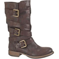 maurices Tami Mid-Calf Boot In Brown ($59) ❤ liked on Polyvore featuring shoes, boots, brown, mid-calf boots, short heel boots, maurices boots, distressed brown boots and side zip boots