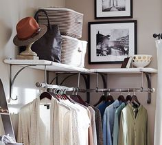Create closet space in your room - New York Shelf & Clothes Rack from Pottery Barn #nocloset