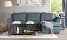 Groupon - Edinburg Grey Linen Sectional with Sleeper in [missing {{location}} value]. Groupon deal price: $899.99