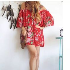 ❤️ bohemian beach coverup or tunic nwt red floral Adorable top size medium to large free flow. Sheer see thru material great for tunic with tank under or swimsuit coverup!! Nwt Bohemian Tops
