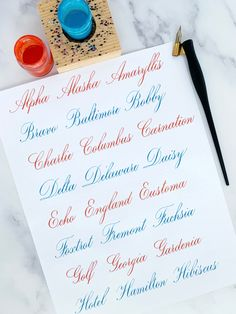 Calligraphy Letters Alphabet, Calligraphy Worksheet, Copperplate Calligraphy, Calligraphy Envelope, Handwriting Examples, Gouache, Journal Fonts, Adult Birthday Party, Delaware