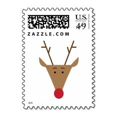 Paper Cut Rudolph Reindeer Stamps
