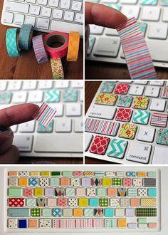 dressed up keyboard Great idea for classroom keyboards. Space bar.   Backspace. Esc.