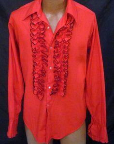 Vintage Delton Red Ruffled French Cuff Tuxedo Dress Shirt - 16/35 *