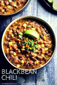 Chili Recipes, Vegetarian Recipes, Chili Recipe Corn, Instapot Vegan Recipes, Bean Soup Recipes, Chili Recipe With Black Beans, Black Bean Chili Recipe Vegetarian, Black Bean Recipes, Vegetarian Bean Chili