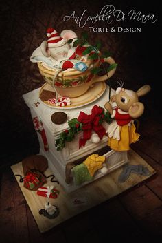 Cute Christmas cake called - Wake up, it's Christmas time! by Antonella Di Maria Torte Design Christmas Treats, Christmas Baking, Christmas Time, Christmas Cakes, Unique Cakes, Creative Cakes, Fancy Cakes, Cute Cakes, Beautiful Cakes