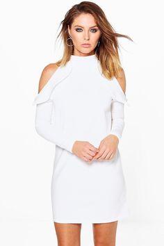 Lo High Neck Frill Detail Open Shoulder Shift Dress