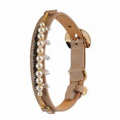 mademoiselle leather dog collar beige by Moshiqa $140.00  #Moshiqa #BitchNewYork #Beige #Dogs #DogLeash #LeatherDogLeash