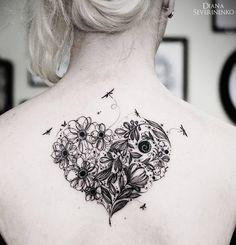 Flowery Heart & Dragonflies http://tattooideas247.com/flower-heart/