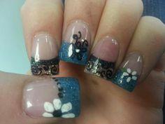 Blue n white flower nails