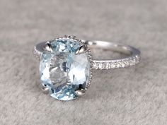 11x9mm Oval Aquamarine Engagement Ring Diamond Wedding Ring 14k Rose Gold Blue Gemstone Claws Prong Antique Design