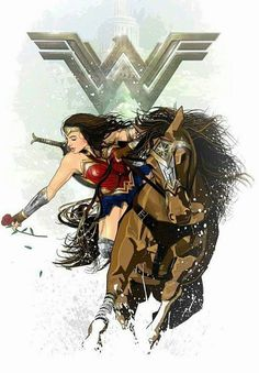 the horse is amazing! and of course Wonder Woman looks awesome Wonder Woman Kunst, Wonder Woman Art, Gal Gadot Wonder Woman, Wonder Woman Movie, Wonder Women, Wonder Woman Drawing, Comic Book Characters, Comic Character, Comic Books Art