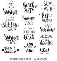 Set of hand drawn summer theme phrases. Sign Quotes, Cute Quotes, Sign Sayings, Summer Pool, Summer Fun, Summer Phrases, Summer Calligraphy, Vibes Tumblr, Pool Photography