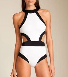 2f5a3b7a0f Black White Mock Bikini One Piece Swimsuit. Egyrészes FürdőruhaFürdőruha