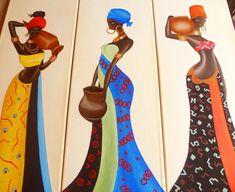 Cuadros Tripticos Polípticos Mujeres Africanas Modernos - $ 2.000,00