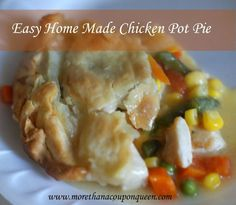 Easy Home Made Chicken Pot Pie - One of my favorite foods is chicken pot pie. There is just something so delicious about eating all the veggies, then the meat potatoes and crust together afterwards. Ok, so maybe I am a bit OCD. The point is, pot pie is delicious. I have had a problem with the cost and ingredients that come with many of the store varieties of pot pie. I decided it was time to make my own. Check out this easy Chicken Pot Pie recipe! How do you eat your pot pie? Do you have an…