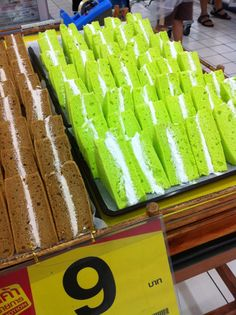 """Radioactive sandwiches!"" But they're actually just pandan cakes....."