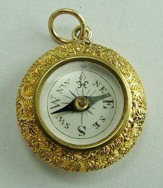 1890's Victorian 15k gold working compass charm (sold) *Sandysvintagecharms.com