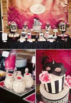 Black, white, and pink birthday decorations.
