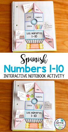 Spanish Numbers 1-10 interactive notebook activity.