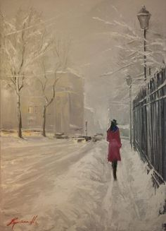 Christina Nguyen ( is a Ukrainian /Vietnamese American Impressionist Cityscape painter) Winter Painting, Winter Art, Winter Light, Snow Scenes, Winter Scenes, Love Art, Oeuvre D'art, Amazing Art, Art Photography