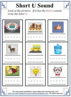 Short U Sound Worksheets - Write a 'u' under each picture that has the short u sound.