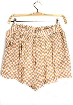 Coffee Plaid Elastic Waist Short Cotton Blend Pants